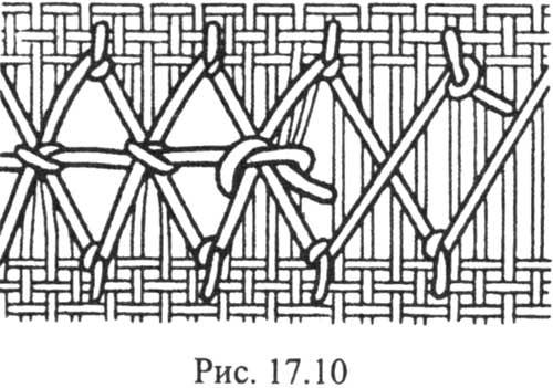 Столбики мережки с новой нити